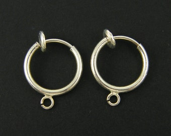 Silver Spring Clip Earring Finding, Silver Hoop Clip Earring Component with Loop Non Pierced Earring Supply  s23-13 2