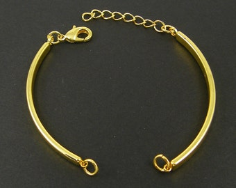 4 Pcs Gold Bangle Bracelet Finding with Extender Chain Bracelet Component Jewelry Supply for DIY Bracelet Base |LG13-5|4
