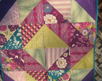 Quilted rich, bright colored blanket, baby, meditation mat, play mat, ooak
