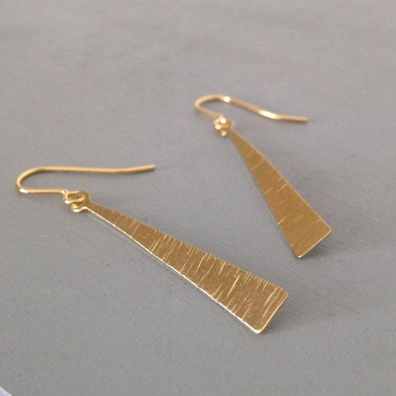 Long Delicate Brass Earrings - Festival - Simple - Modern - Gold - Gypsy - Classic - Minimalist -