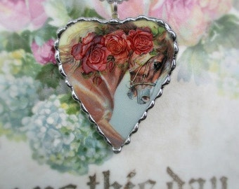 Vintage - Recycled Broken China - Horse - Roses - Pendant -