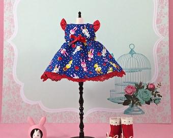 Dark Blue Flutterbunny Dresses for Blythe and Other Similar Sized Dolls
