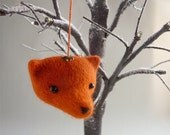 Small fox head  needle felted tree ornament by Gretel Parker with gift box