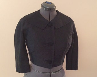 Vintage 1960s Short Black Jacket Mad Men Style 41 bust sz L
