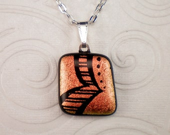 Red Hand Etched Dichroic Fused Glass Pendant