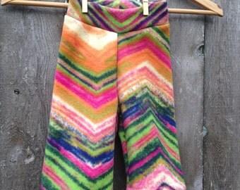 Size Medium --- Multi Color Chevron Anti Pill Fleece Yoga Pants (ready to ship)