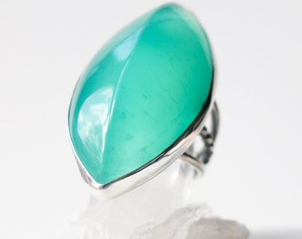 Ridgeline Ring - Seafoam Serpentine and Sterling Cocktail Ring