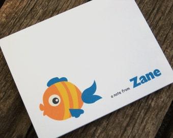 Fish Note Card Set - Set of 8 Personalized - Beach Note Cards - Summer Note Cards
