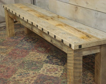Driftwood Bench (74 x 15 x 17H) with Square hammered Nails