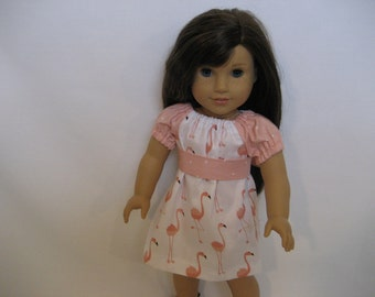 American Girl Doll Clothes - Flamingo Peasant Dress - 18 inch Doll