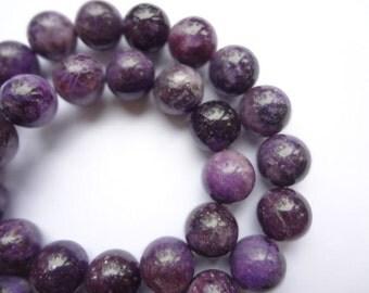 8mm Round Natural Lepidolite Semi Precious Gemstone Beads - Half Strand, 23-25pc