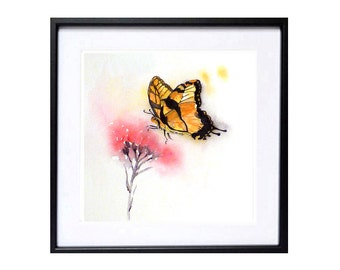 Butterfly Painting Watercolour Print, Butterfly drawing insect illustration Nursery wall decor Abstract floral art Nature wildlife art