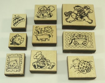 Set Of Nine Foam And Wood Mounted Rubber Stamps Teddy Bears