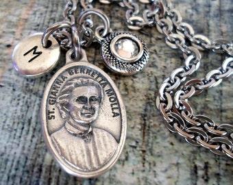 St. Gianna Birthstone Necklace, Italian Charm, Confirmation, Patron Saint,  Custom Monogram Initial, Swarovski Crystal, Catholic Jewelry