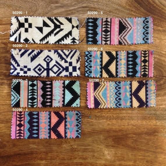 Geometric Fabric / Reversible Woven Cloth / Aztec, Tribal