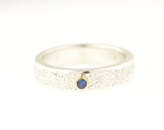 Galaxy Shimmer Band Sterling Silver 18 Karat Gold Sapphire Wedding Ring