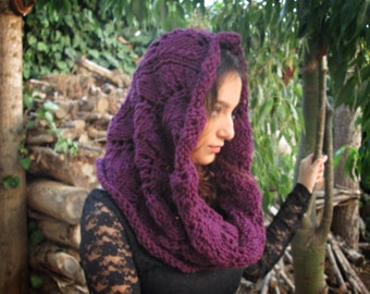 Merino Wool Cowl Scarf Hood Snood Plum women echarpe circulaire capuche knit maroon yarn capelet cape wrap warm winter bulky chunky thick