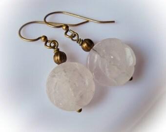 Rose Quartz Earrings natural pink rose quartz Carved flower earrings Gemstone earring for women Flower dangle drop stone brass bronze rustic