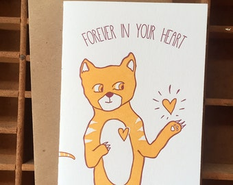 letterpress cat sympathy card