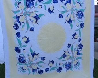 Vintage Blue and Yellow Floral Print Tablecloth