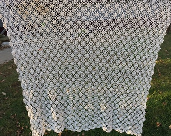 Vintage White Hand Crochet Tablecloth