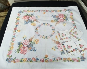 Vintage Pink and Yellow Roses Luncheon Cloth/Tablecloth and Four Napkins Set