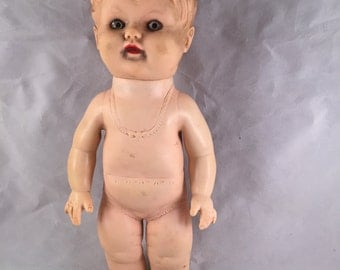 Vintage Rubber Doll with Molded Under Clothes and Hair