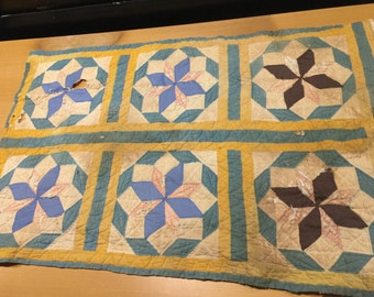 Vintage Hand Quilted Mustard and Old Blue Star Cutter Quilt Piece
