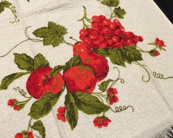 Vintage Colorful Cannon Terry Cloth Kitchen Dish Towel with Luscious Red Fruit