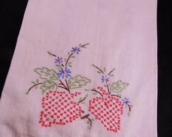 Vintage White Kitchen Towel with Red Cross Stitch Strawberries