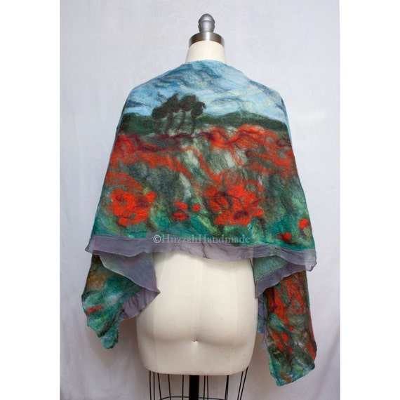 Nuno Felted Shawl Field of Poppies Wearable Art