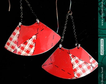 Country Checked Bright Red—Upcycled Tin Earrings