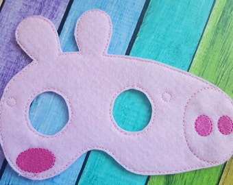 Pink Pig Felt Mask - Party Favors * Birthday Parties * Dress Up * Halloween * Playtime * Peppa Inspired