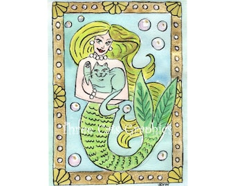 A Lucky Undersea Moment - Choose from ACEO Print, Note Cards, or Art Print