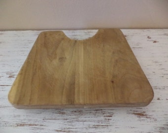 Wooden footed cutting board vintage primitive with half circle cutout