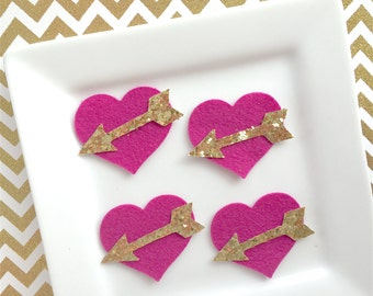 Wool Felt Hearts with gold  arrow center 1.5 inch heart set of 4 rose petal and gold glitter Valentine Hairbow