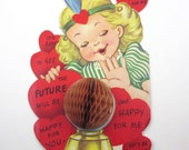Vintage Children's Valentine Greeting Card with Pretty Blonde Gypsy Girl or Fortune Teller with Honeycomb Crystal Ball Telling Future