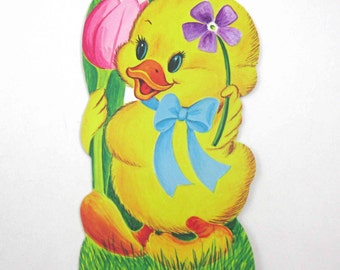 Vintage Die Cut Cardboard Easter Decoration with Cute Yellow Duck and Flowers by Eureka
