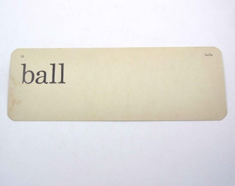 Vintage 1950s Children's Ivory School Flash Card with Word for Ball by Scott, Foresman and Co.