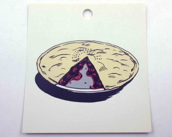 Vintage Children's School Flash Card with Picture for Pie in Color
