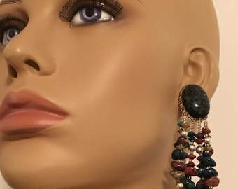 PEARL TEAR dangle mix bohemian drop beads gold faux stones brown black reds  extra long super earth nature earring Wire free