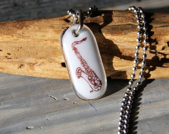 Saxophone necklace - fused glass pendant- sepia music jewelry-jazz
