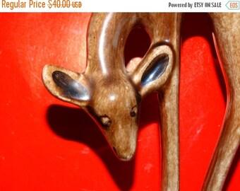 ON SALE Ceramic Deer by Potter Gladys Wax Pine Needles Pine Cone Folk Art Christmas Deer Keystone Ceramics, South Dakota Pottery, Baby Deer