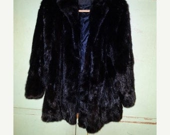 "ON SALE Vintage Black Mink Coat, ""Glatas Brothers Furs, Ft. Worth Texas"", Monogramed inside ""Ann Prino"""