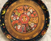 RESERVED FOR ALEKA ---- Vintage 1970s Zodiac Horoscope Metal Round Serving Tray