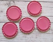 100 Hot Pink Flattened Bottle Caps- Perfect for fridge magnets, pins, pendants, scrapbooking, hair bows, and card making