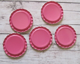 50 Hot Pink Flattened Bottle Caps- Perfect for fridge magnets, pins, pendants, scrapbooking, hair bows, and card making