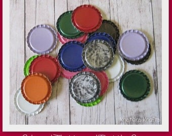 100 Flattened Bottle Caps- Colored or Silver- You choose- Perfect for fridge magnets, pins, pendants, scrapbooking and card making