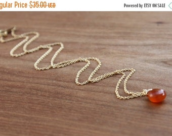 15%SALE Daintiness Collection- Carnelian and Gold Filled Necklace