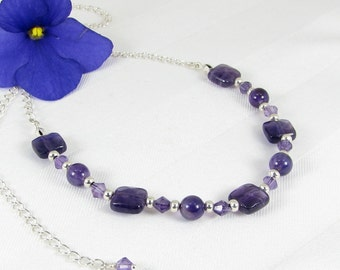 Amethyst Faceted Squares and Bicones and Sterling Silver Adjustable Necklace